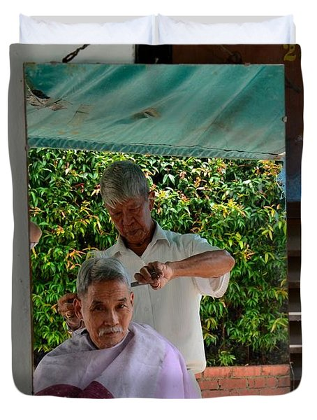 Street Side Barber Cuts Client Hair Singapore Duvet Cover