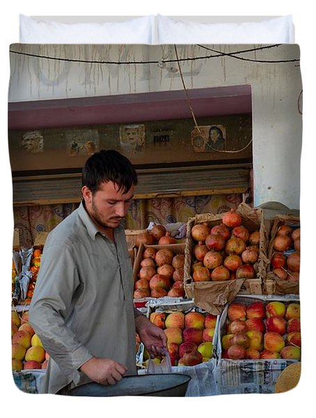 Street Side Fruit Vendor Islamabad Pakistan Duvet Cover by Imran Ahmed