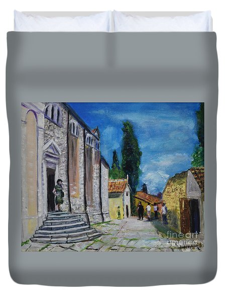 Street View In Rovinj Duvet Cover