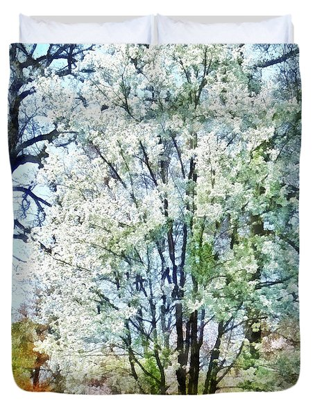 Street With White Flowering Trees Duvet Cover by Susan Savad