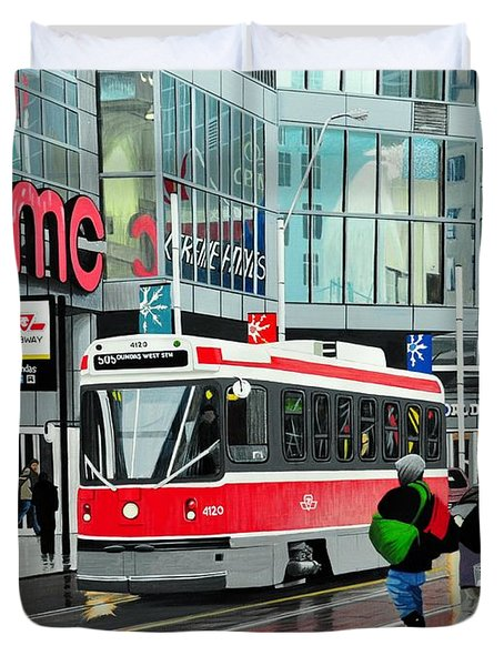 Streetcar On Dundas Duvet Cover by Kenneth M  Kirsch