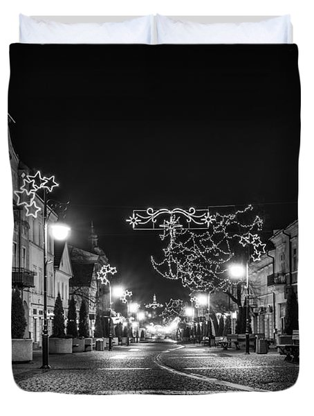 Streets Before Christmas Duvet Cover