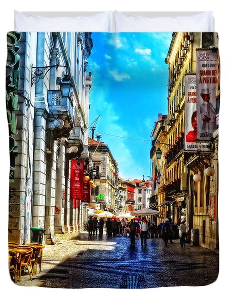 Streets Of Lisbon 1 Duvet Cover by Mary Machare