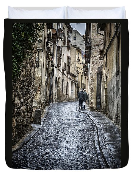 Streets Of Segovia Duvet Cover by Joan Carroll