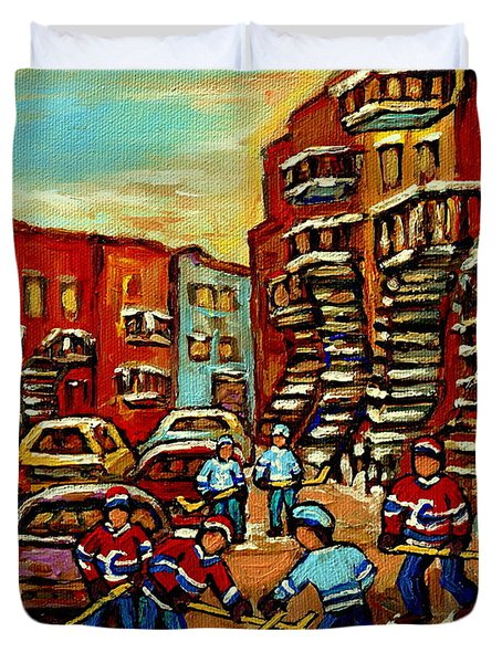 Streets Of Verdun Paintings He Shoots He Scores Our Hockey Town Forever Montreal City Scenes  Duvet Cover by Carole Spandau