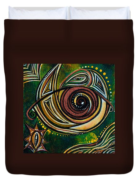 Duvet Cover featuring the painting Strength Spirit Eye by Deborha Kerr