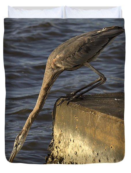 Duvet Cover featuring the photograph Stretch - Great Blue Heron by Meg Rousher