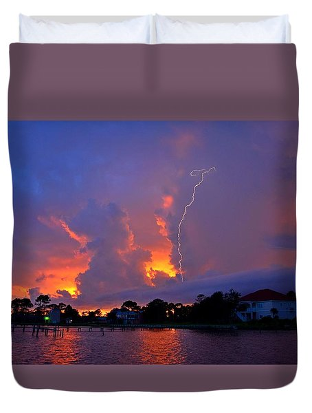 Strike Up The Middle At Sunset Duvet Cover