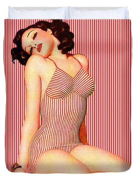 Duvet Cover featuring the digital art Stripes by Sasha Keen