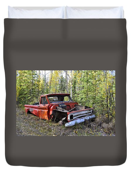 Duvet Cover featuring the photograph Stripped Chevy by Cathy Mahnke