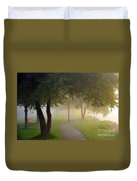 Stroll In The Fog Duvet Cover by Terri Gostola