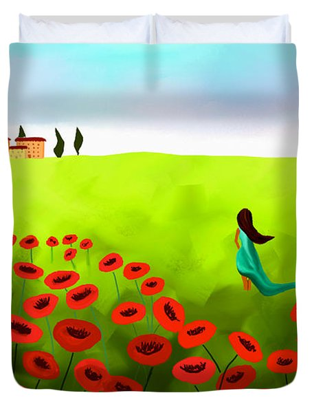 Strolling Among The Red Poppies Duvet Cover by Anita Lewis