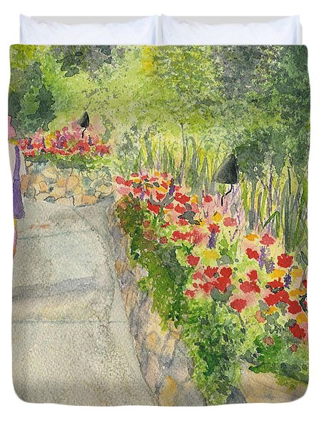 Duvet Cover featuring the painting Strolling Butchart Gardens by Vicki  Housel