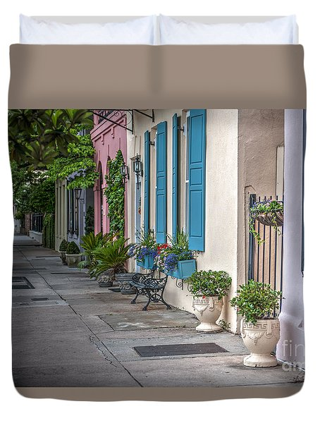 Strolling Down Rainbow Row Duvet Cover