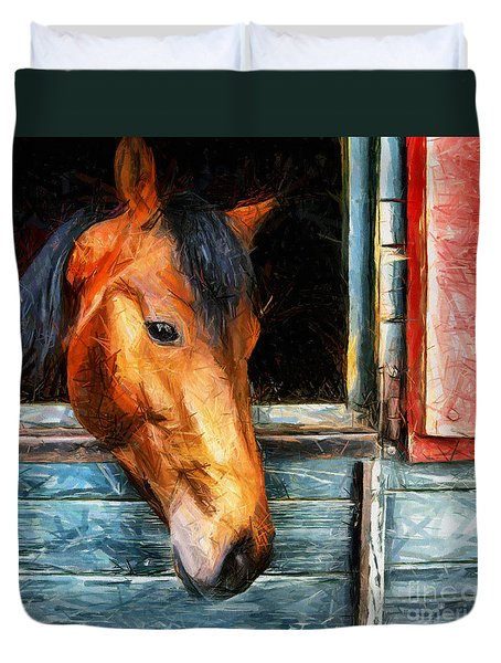 Strong Powerful Beautiful - Horse Drawing Duvet Cover