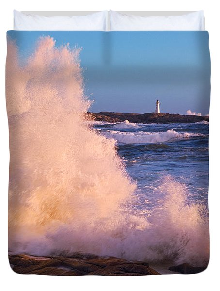 Strong Winds Blow Waves Onto Rocks Duvet Cover by Thomas Kitchin & Victoria Hurst