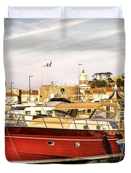 St.tropez Harbor Duvet Cover by Elena Elisseeva