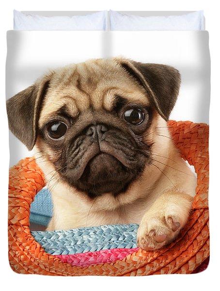 Stuck Pug Duvet Cover by Greg Cuddiford