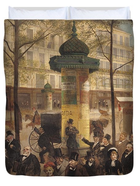 Study For A Panorama Of The Boulevard De Montmartre, 1877 Oil On Canvas Duvet Cover