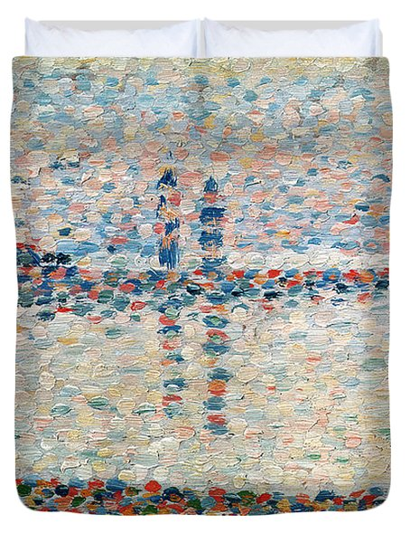 Study For The Channel At Gravelines Evening Duvet Cover by Georges Pierre Seurat