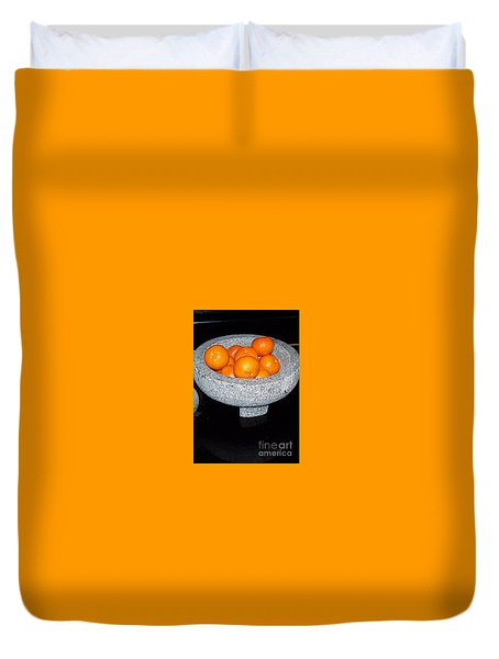 Study In Orange And Grey Duvet Cover