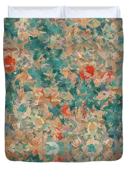 Duvet Cover featuring the digital art Study In Peach And Teal by Deborah Smith