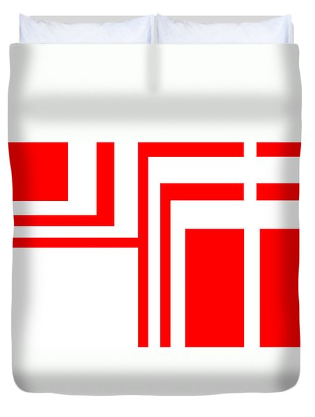 Duvet Cover featuring the digital art Study In White And Red by Cletis Stump