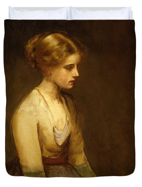 Study Of A Fair Haired Beauty  Duvet Cover by Jean Jacques Henner