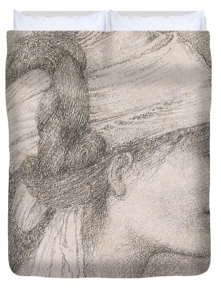 Study Of A Female Head To The Right Duvet Cover by Sir Edward Coley Burne-Jones