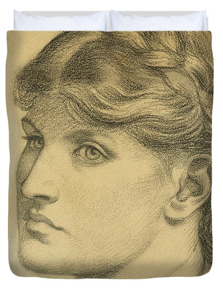Study Of A Head For The Bower Meadow Duvet Cover by Dante Charles Gabriel Rossetti