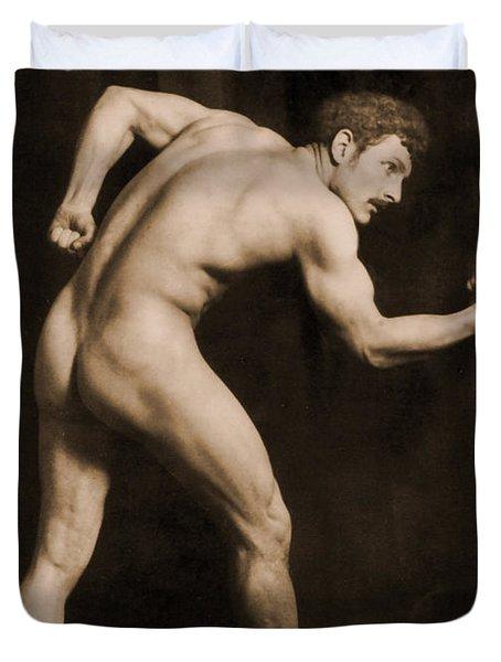 Study Of A Male Nude Duvet Cover by Wilhelm von Gloeden