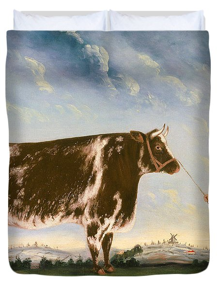 Study Of A Shorthorn Duvet Cover by William Joseph Shayer