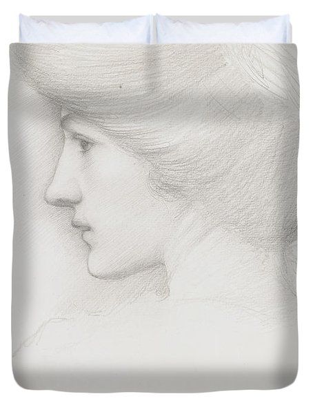 Study Of A Woman's Head Profile To Left Duvet Cover by Sir Edward Coley Burne-Jones