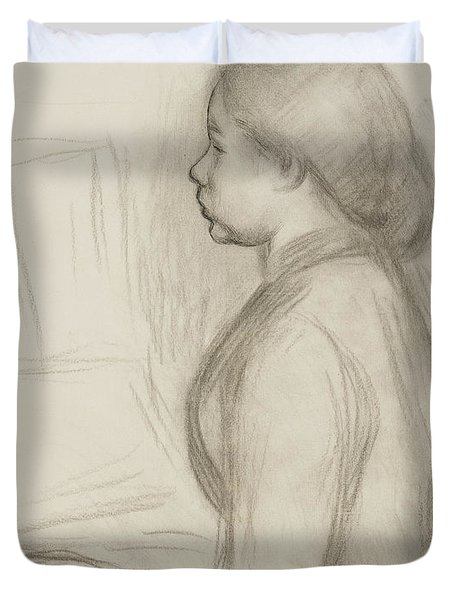 Study Of A Young Girl At The Piano Duvet Cover by Pierre Auguste Renoir
