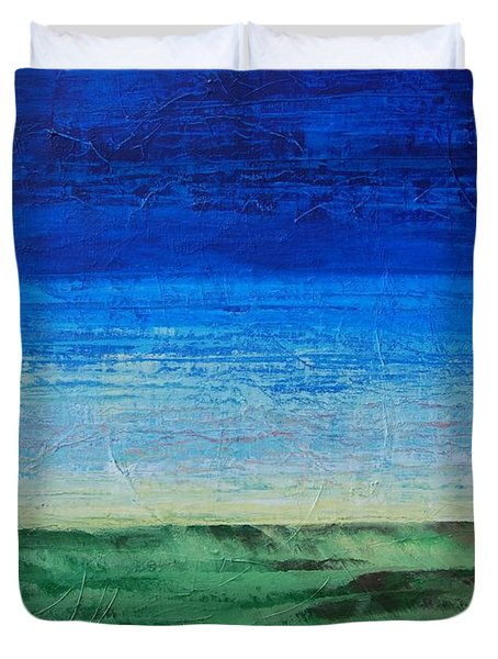 Duvet Cover featuring the painting Study Of Earth And Sky by Linda Bailey
