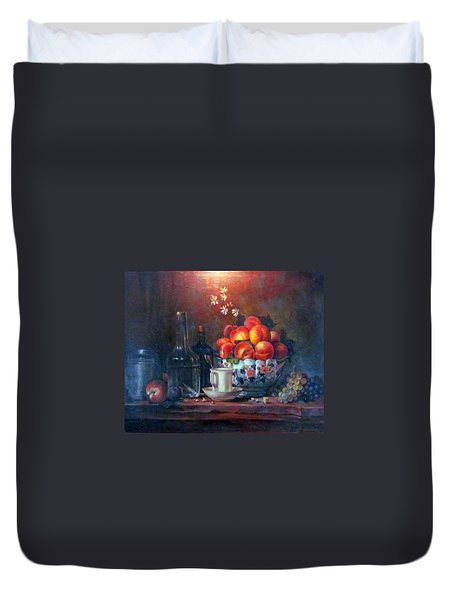 Duvet Cover featuring the painting Study Of Peaches by Donna Tucker