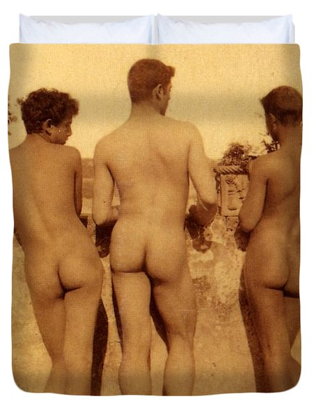 Study Of Three Male Nudes Duvet Cover