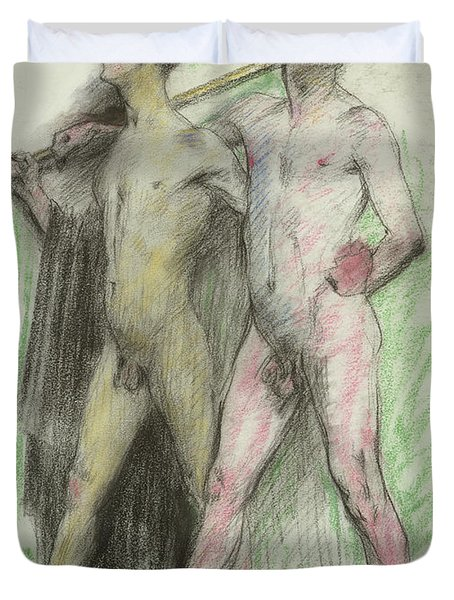 Study Of Two Male Figures  Duvet Cover