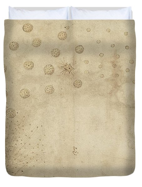 Study Of Two Mortars For Throwing Explosive Bombs From Atlantic Codex Duvet Cover by Leonardo Da Vinci
