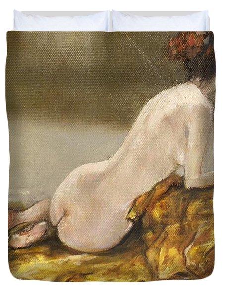 Study Over A Silk Drapery Duvet Cover