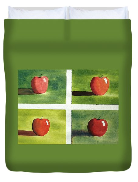 Duvet Cover featuring the painting Study Red And Green by Richard Faulkner