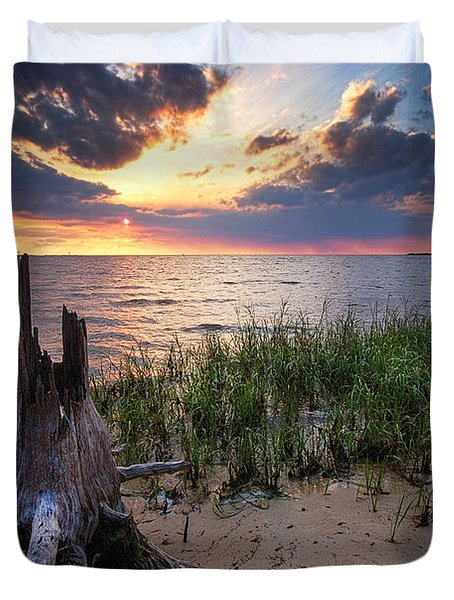 Stumps And Sunset On Oyster Bay Duvet Cover by Michael Thomas