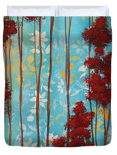 Stunning Abstract Landscape Elegant Trees Floating Dreams I By Megan Duncanson Duvet Cover by Megan Duncanson