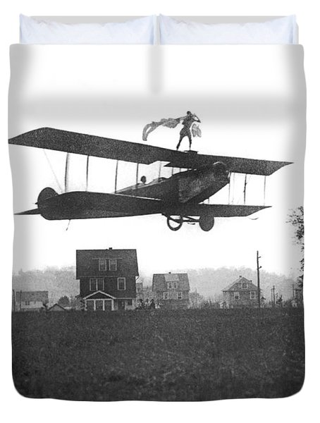 Stunts Atop A Biplane Duvet Cover