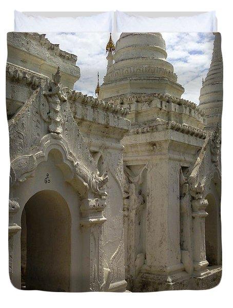 Duvet Cover featuring the photograph Stupas With Buddhist Inscription Slabs Sandamuni Pagoda Mandalay Burma by Ralph A  Ledergerber-Photography