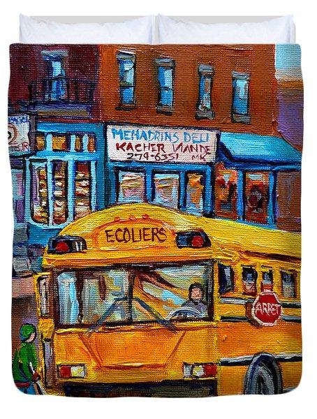 St.viateur Bagel And School Bus Montreal Urban City Scene Duvet Cover by Carole Spandau