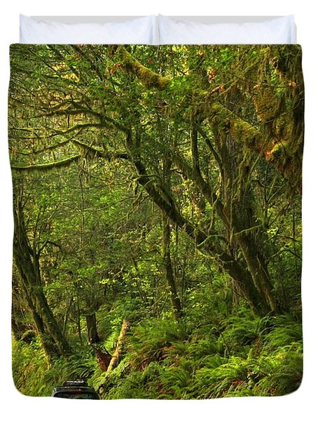 Subaru In The Rainforest Duvet Cover by Adam Jewell