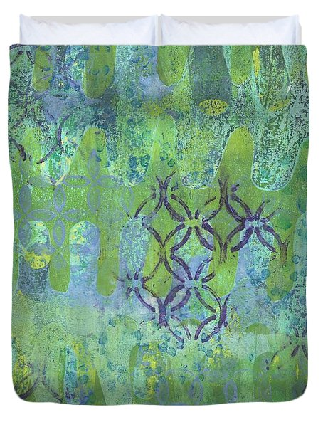 Duvet Cover featuring the mixed media Subtle 1 by Lisa Noneman