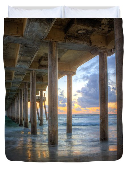 Subtle Pier Sunset Duvet Cover