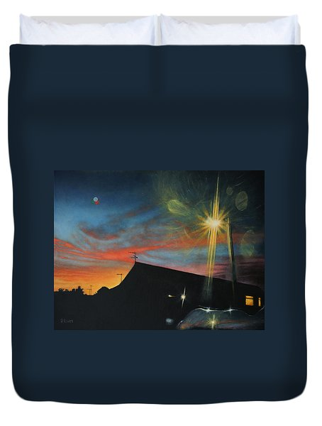 Suburban Sunset Oil On Canvas Duvet Cover